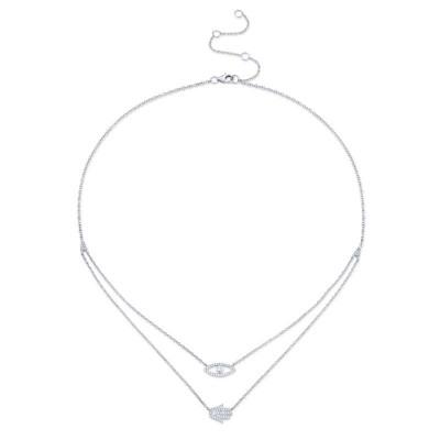 0.24ct 14k White Gold Diamond Eye & Hamsa Necklace