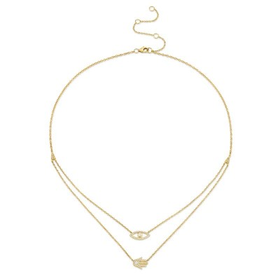 0.24ct 14k Yellow Gold Diamond Eye & Hamsa Necklace