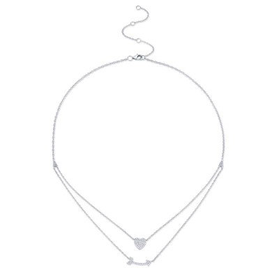 0.18ct 14k White Gold Diamond Heart & Arrow Necklace