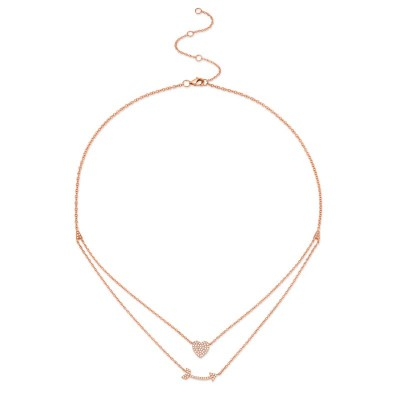 0.18ct 14k Rose Gold Diamond Heart & Arrow Necklace