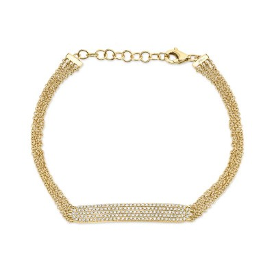 0.39ct 14k Yellow Gold Diamond Pave Bar Bracelet