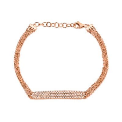 0.39ct 14k Rose Gold Diamond Pave Bar Bracelet