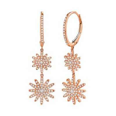 0.51ct 14k Rose Gold Diamond Star Earring