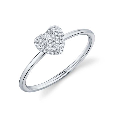 0.11ct 14k White Gold Diamond Pave Heart Ring
