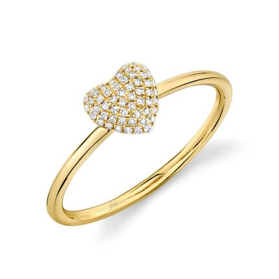 0.11ct 14k Yellow Gold Diamond Pave Heart Ring