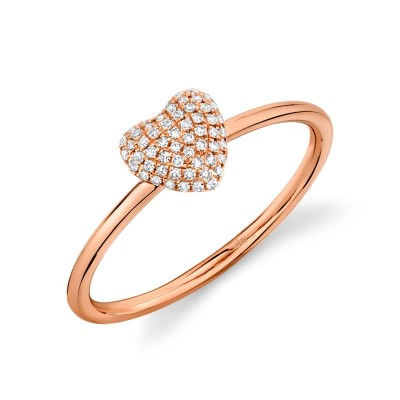 0.11ct 14k Rose Gold Diamond Pave Heart Ring