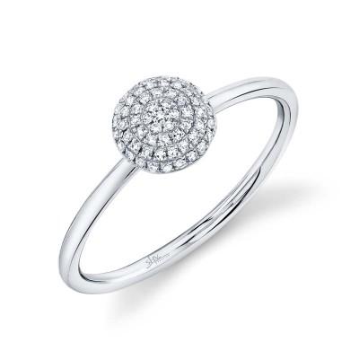 0.11ct 14k White Gold Diamond Pave Circle Ring