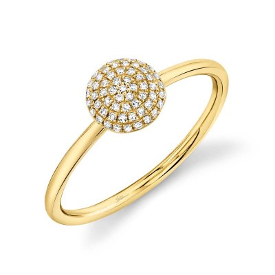 0.11ct 14k Yellow Gold Diamond Pave Circle Ring