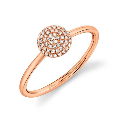 0.11ct 14k Rose Gold Diamond Pave Circle Ring