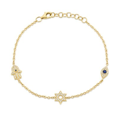0.15ct Diamond & 0.06ct Blue Sapphire 14k Yellow Gold Hamsa Star Eye Bracelet