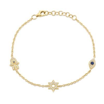 0.15ct Diamond & 0.06ct Blue Sapphire 14k Yellow Gold Hamsa Star Eye Bracelet