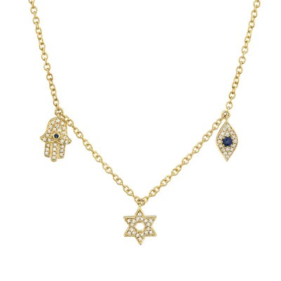 0.15ct Diamond & 0.06ct Blue Sapphire 14k Yellow Gold Hamsa Star Eye Necklace