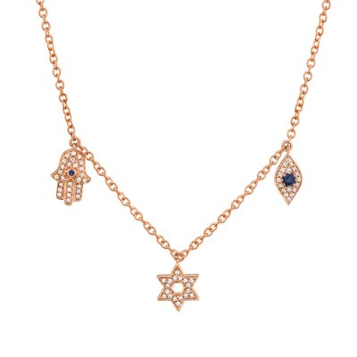 0.15ct Diamond & 0.06ct Blue Sapphire 14k Rose Gold Hamsa Star Eye Necklace