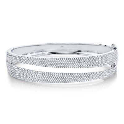 1.96ct 14k White Gold Diamond Pave Bangle