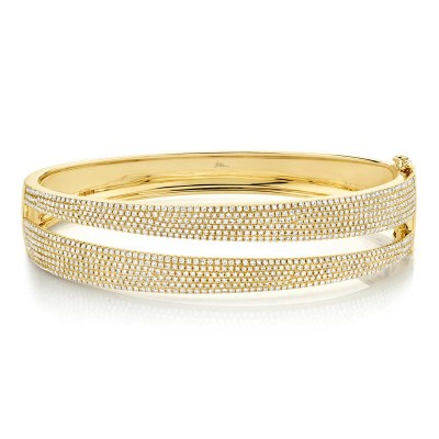 1.96ct 14k Yellow Gold Diamond Pave Bangle