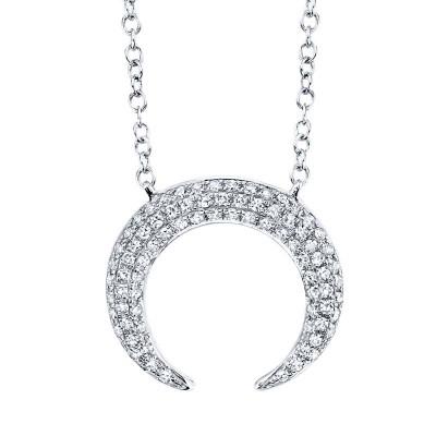 0.20ct 14k White Gold Diamond Pave Crescent Necklace