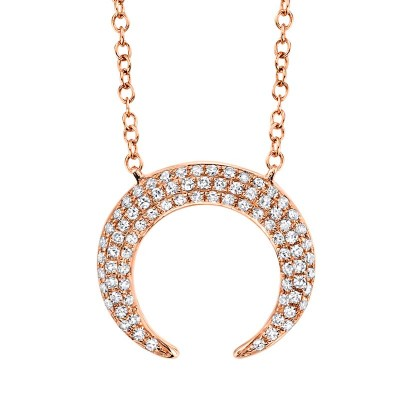 0.20ct 14k Rose Gold Diamond Pave Crescent Necklace