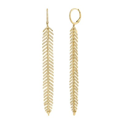 1.43ct 14k Yellow Gold Diamond Feather Earring