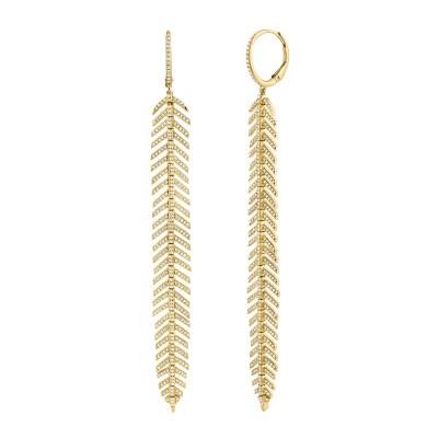 1.43ct 14k Yellow Gold Diamond Feather Earring