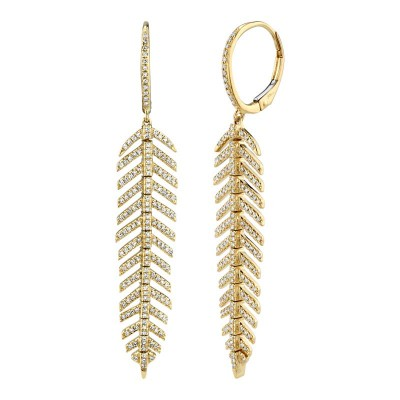 0.60ct 14k Yellow Gold Diamond Feather Earring