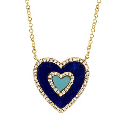 0.17ct Diamond & 0.96ct Lapis & Composite Turquoise 14k Yellow Gold Heart Necklace