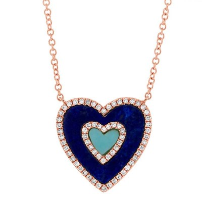 0.17ct Diamond & 0.96ct Lapis & Composite Turquoise 14k Rose Gold Heart Necklace