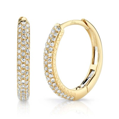 0.21ct 14k Yellow Gold Diamond Pave Hoop Earring