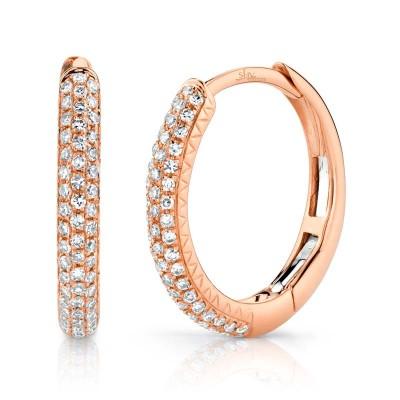 0.21ct 14k Rose Gold Diamond Pave Hoop Earring