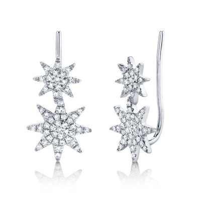 0.22ct 14k White Gold Diamond Pave Star Earring Crawler Earring