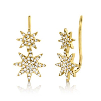 0.22ct 14k Yellow Gold Diamond Pave Star Earring Crawler Earring