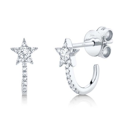 0.17ct 14k White Gold Diamond Star Earring