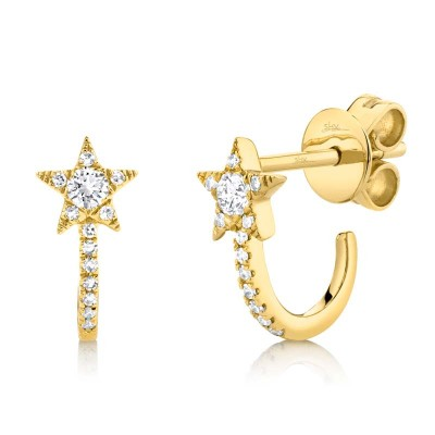 0.17ct 14k Yellow Gold Diamond Star Earring