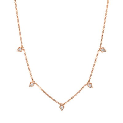 0.19ct 14k Rose Gold Diamond Necklace