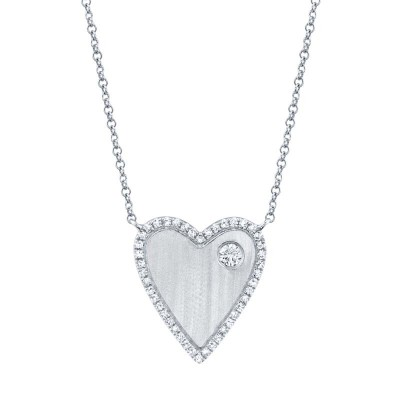 0.16ct 14k White Gold Diamond Heart Necklace