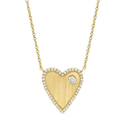 0.16ct 14k Yellow Gold Diamond Heart Necklace