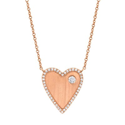 0.16ct 14k Rose Gold Diamond Heart Necklace