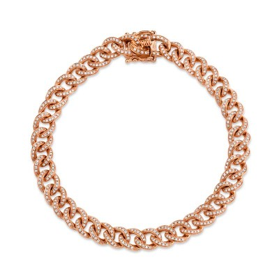 1.05ct 14k Rose Gold Diamond Pave Chain Bracelet