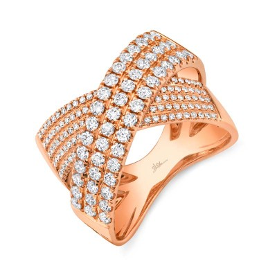 1.16ct 14k Rose Gold Diamond Bridge Ring