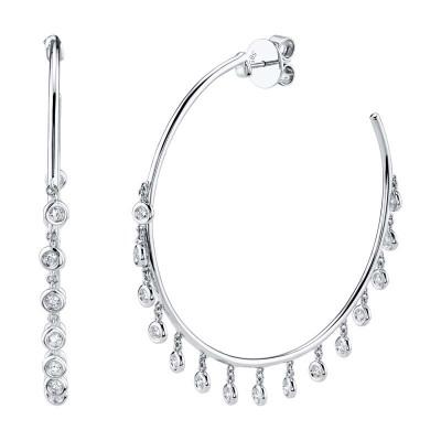 0.90ct 14k White Gold Diamond Shaker Hoop Earring