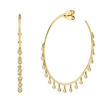 1.04ct 14k Yellow Gold Diamond Shaker Hoop Earring