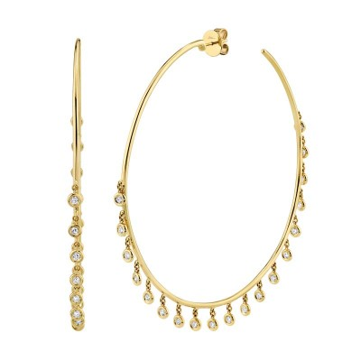 1.52ct 14k Yellow Gold Diamond Shaker Hoop Earring