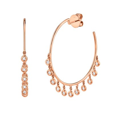 0.65ct 14k Rose Gold Diamond Shaker Hoop Earring