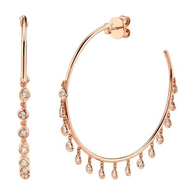 0.90ct 14k Rose Gold Diamond Shaker Hoop Earring