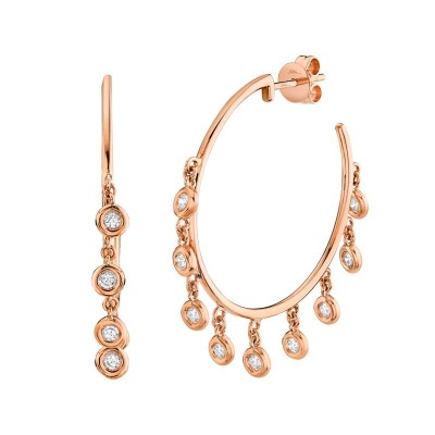 0.45ct 14k Rose Gold Diamond Shaker Hoop Earring