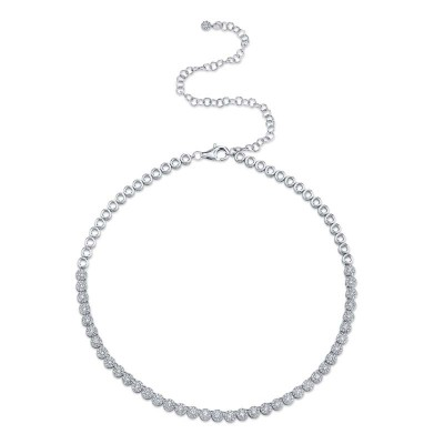 2.44ct 14k White Gold Diamond Choker Necklace