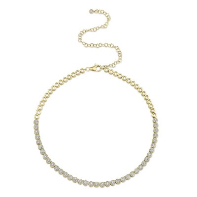 2.44ct 14k Yellow Gold Diamond Choker Necklace