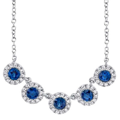 0.16ct Diamond and 0.49ct Blue Sapphire 14k White Gold Lady's Necklace