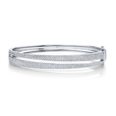 1.39ct 14k White Gold Diamond Pave Lady's Bangle