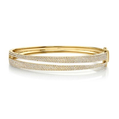 1.39ct 14k Yellow Gold Diamond Pave Lady's Bangle
