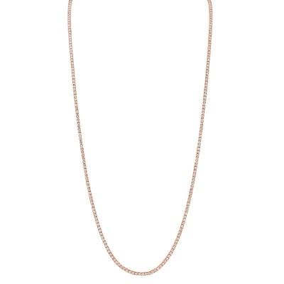 "8.70ct 14k Rose Gold Diamond Tennis Necklace 36"""